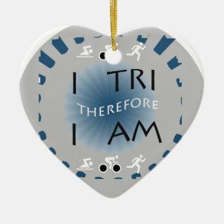 I Tri daarom ben ik Triathlon Keramisch Hart Ornament