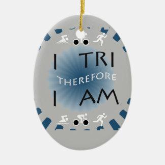 I Tri daarom ben ik Triathlon Keramisch Ovaal Ornament