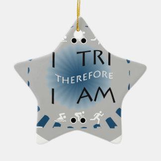 I Tri daarom ben ik Triathlon Keramisch Ster Ornament