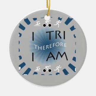 I Tri daarom ben ik Triathlon Rond Keramisch Ornament