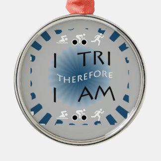 I Tri daarom ben ik Triathlon Zilverkleurig Rond Ornament