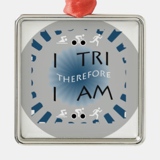 I Tri daarom ben ik Triathlon Zilverkleurig Vierkant Ornament