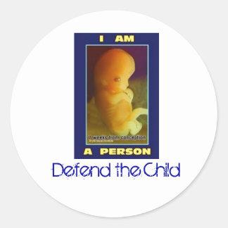 IamaPerson3, verdedig het Kind Ronde Sticker
