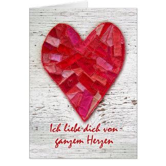Ich liebe dich, Duitstalig Valentijn, Hart Briefkaarten 0