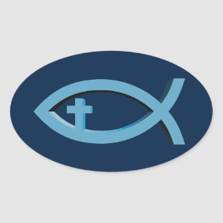 Ichthus - het Christelijke Symbool van Vissen met Ovale Sticker
