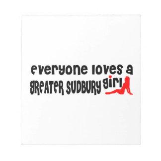 Iedereen houdt van een Groter Meisje Sudbury Notitieblok