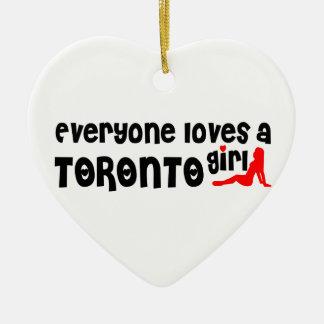 Iedereen houdt van een Meisje van Toronto Keramisch Hart Ornament