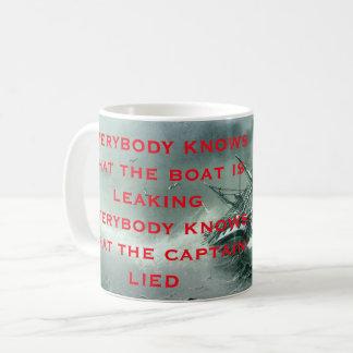 Iedereen weet dat de boot Lyrisch gedicht 2 lekt Koffiemok
