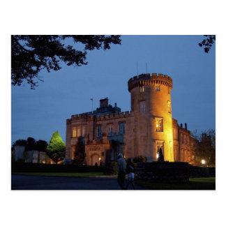 Ierland, het Kasteel Dromoland bij schemer wordt Briefkaart