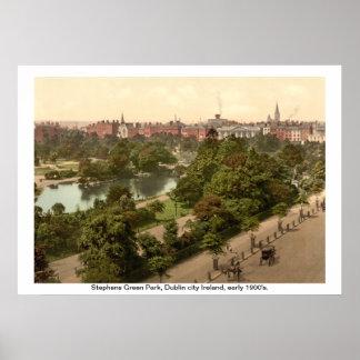 Ierland - Stephens Groen Park, de stad van Dublin Poster