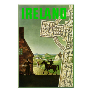Ierland.  Vintage reisposter Poster