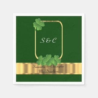 Iers groen, gouden en klaverhuwelijk papieren servetten