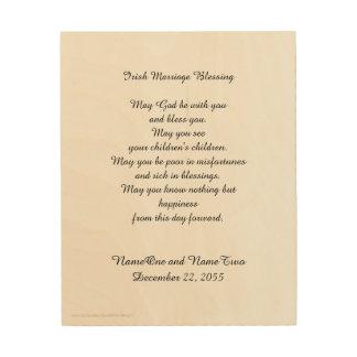 Iers Huwelijk die het Gepersonaliseerde Houten Hout Print