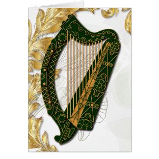 Ierse Harp met Papavers en bladgouden - 3 Briefkaarten 0
