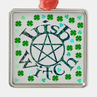 Ierse Heks Zilverkleurig Vierkant Ornament