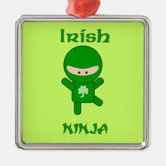 Ierse Ninja Zilverkleurig Vierkant Ornament