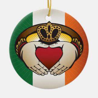 Ierse Vlag met Ring Claddagh Rond Keramisch Ornament