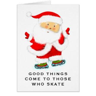 ijs het schaatsen Kerstmis Wenskaart