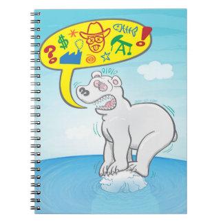 Ijsbeer die slechte woorden zegt die zich op notitieboek