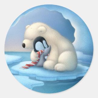 Ijsbeer en pinguïn ronde sticker