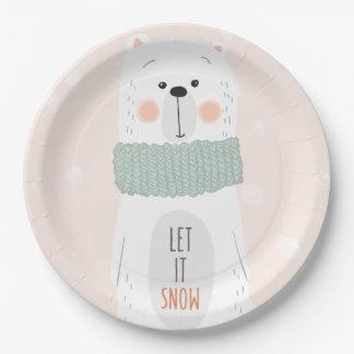 Ijsbeer - laat het sneeuwen - de Leuke Papieren Bordje