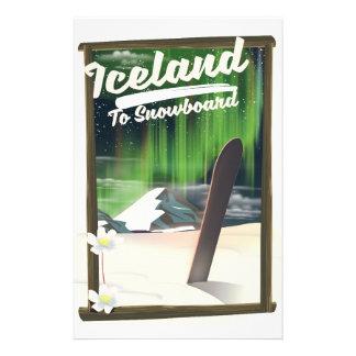 IJsland aan Snowboard Briefpapier