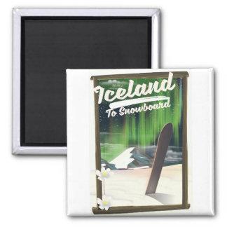 IJsland aan Snowboard Magneet