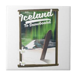 IJsland aan Snowboard Tegeltje
