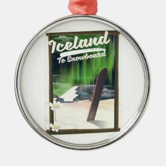 IJsland aan Snowboard Zilverkleurig Rond Ornament