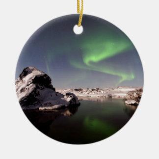 IJsland in de Winter Rond Keramisch Ornament