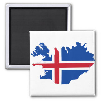IJsland IS de kaart van de Vlag Ísland Vierkante Magneet