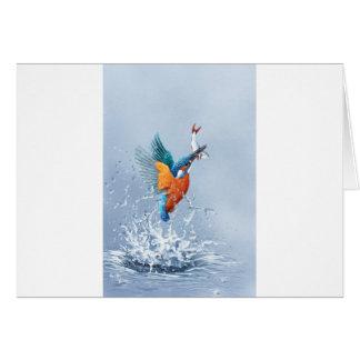 Ijsvogel die uit het water vliegen kaart