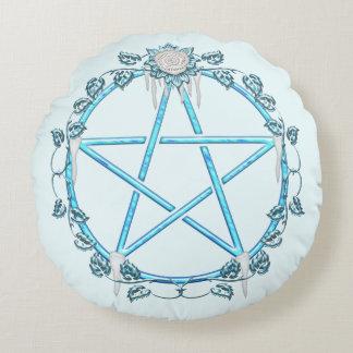 Ijzig nam Heidense Pentacle Pentagram om Rond Kussen