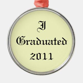 Ik behaalde 2011 een diploma. Room en Zwarte. Zilverkleurig Rond Ornament