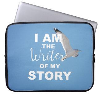 Ik ben de schrijver van mijn verhaal, blauwe hemel laptop sleeve