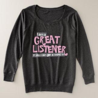 Ik ben een grote luisteraardames plus grootte roze grote maat sweater