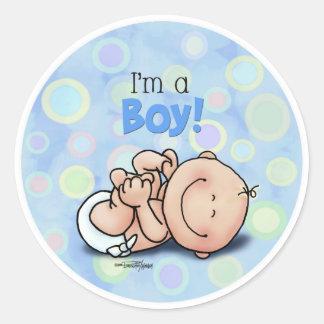 Ik ben een JONGEN - nieuw baby Ronde Sticker
