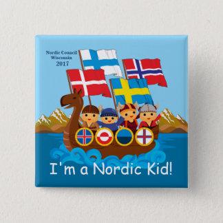 Ik ben een Noordse Knoop van het Kind Vierkante Button 5,1 Cm