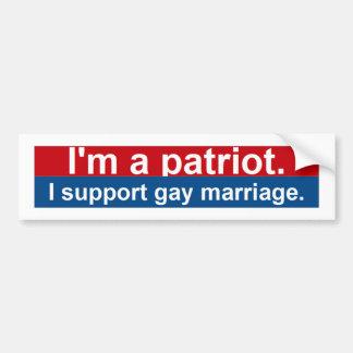 Ik ben een patriot.  Ik steun vrolijk huwelijk Bumpersticker