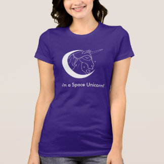 Ik ben een Ruimtet-shirt van de Eenhoorn (donkere T Shirt