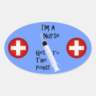 Ik ben een Verpleegster krijg aan het Punt Ovaalvormige Stickers