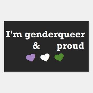 Ik ben genderqueer & trots rechthoekige sticker