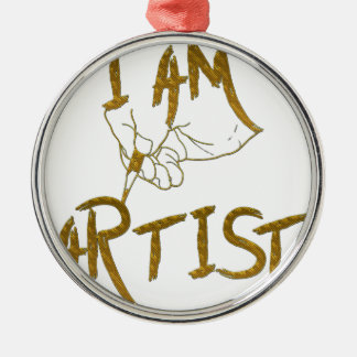 Ik ben kunstenaar zilverkleurig rond ornament
