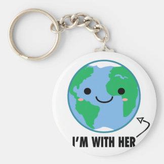 Ik ben met haar - de Dag van de Aarde Sleutelhanger