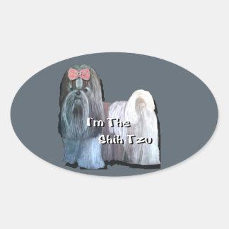 Ik ben Shih Tzu - Ovale Stickers - Blad van 4