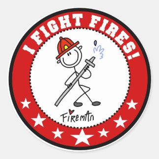 Ik bestrijd de Brandbestrijder van Branden Ronde Sticker