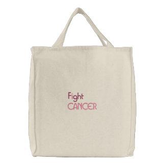 Ik bestrijd kanker geborduurde zak geborduurde boodschappentas