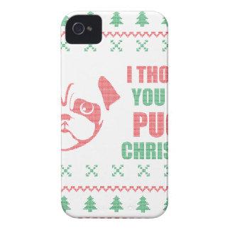 Ik dacht u Bovengenoemde Kerstmis Pugly iPhone 4 Hoesje