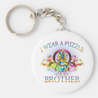 Ik draag een Raadsel voor mijn Broer (bloemen) Basic Ronde Button Sleutelhanger