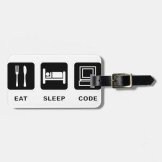 Ik eet, slaap en code kofferlabels